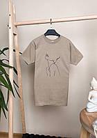 Стильная женская футболка с принтом. Футболка женская бежевого цвета. , фото 1