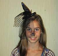 Шляпка Ведьмы с вуалью и пауками на обруче на Хеллоуин