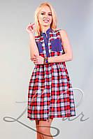 Женское платье в клетку с карманами Lipar Красно-белое