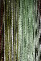 Шторы нити  зелень  с люриксом