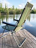 Кресло-шезлонг складной Mavens F-2 хаки усиленное сидение (05-0015), фото 2
