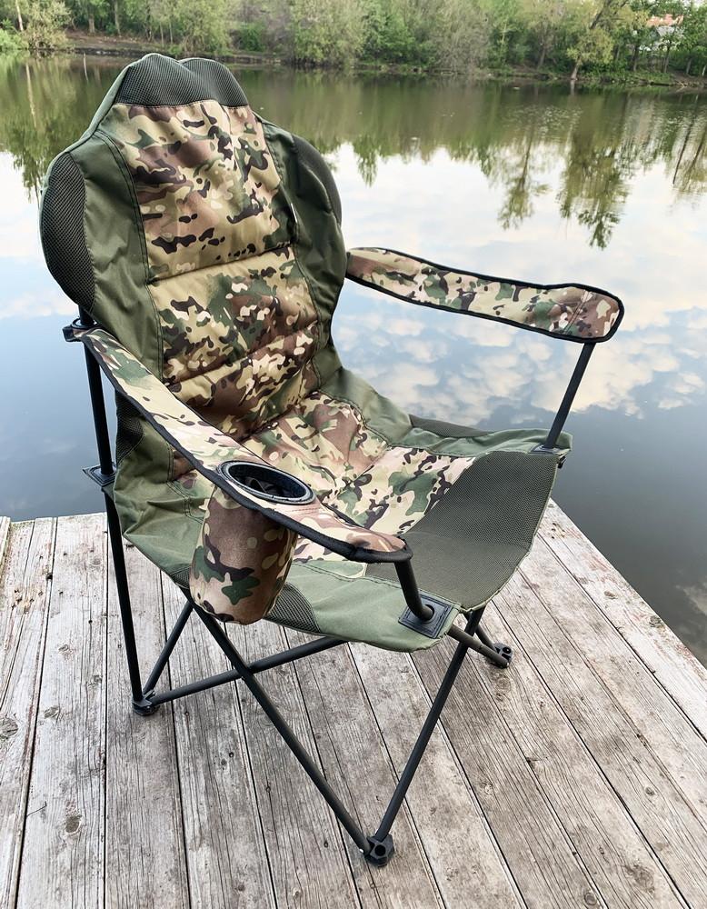 Стул-кресло для рыбалки Mavens R-2 с подстаканником, цвет милитари, чехол в комплекте