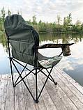 Стул-кресло для рыбалки Mavens R-2 с подстаканником, цвет милитари, чехол в комплекте, фото 2