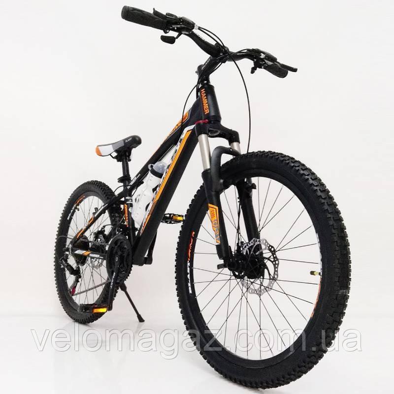 """Стильний алюмінієвий спортивний велосипед S300 BLAST-NEW 24"""", рама 13"""", чорно-помаранчевий"""