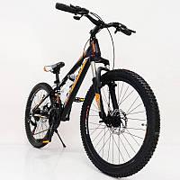 """Стильний алюмінієвий спортивний велосипед S300 BLAST-NEW 24"""", рама 13"""", чорно-помаранчевий, фото 1"""
