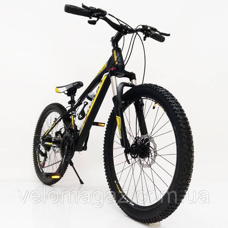 """Стильний алюмінієвий спортивний велосипед S300 BLAST-NEW 24"""", рама 13"""", чорно-жовтий"""