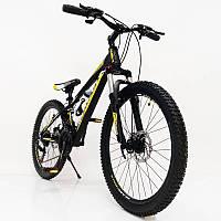 """Стильний алюмінієвий спортивний велосипед S300 BLAST-NEW 24"""", рама 13"""", чорно-жовтий, фото 1"""