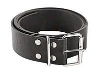 Ремень кожаный для брюк с металлической пряжкой, черный