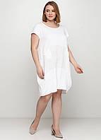 Молочное платье а-силуэт Made in Italy однотонное, XL-2XL