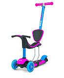 Самокат-беговел с сиденьем Milly Mally Scooter Little Star 3в1 (Польша), розовый/голубой, фото 4