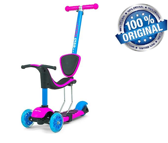 Самокат-беговел с сиденьем Milly Mally Scooter Little Star 3в1 (Польша), розовый/голубой