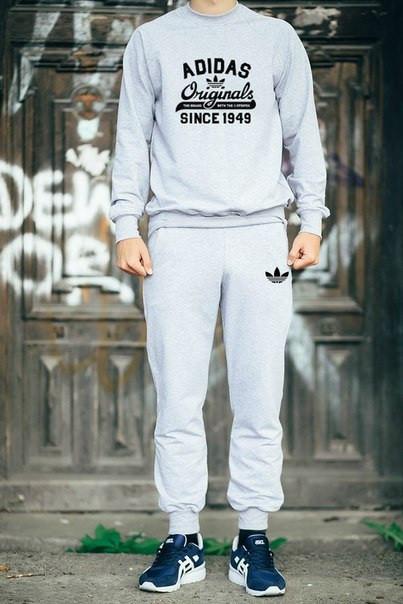 Мужской спортивный костюм Adidas Originals серый с черным принтом