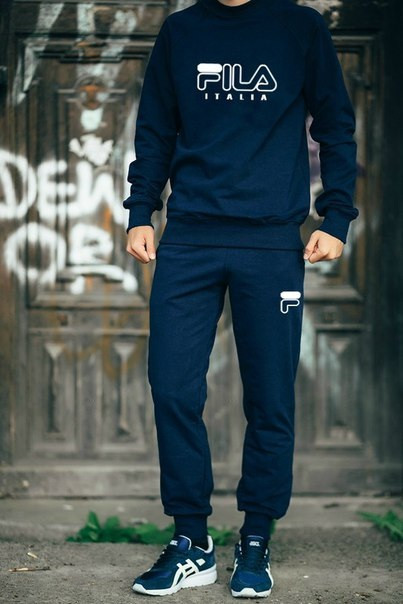Мужской Спортивный костюм FILA (т.синий)