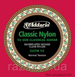 Струны для классической гитары D`ADDARIO EJ27N 1/2 STUDENT CLASSICS NORMAL TENSION 1/2 стандартное натяжение, фото 2