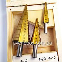 Набор ступенчатых сверл ТулаМаш 4-32мм, 3шт ( 4-12 , 4-20 , 4-32 )