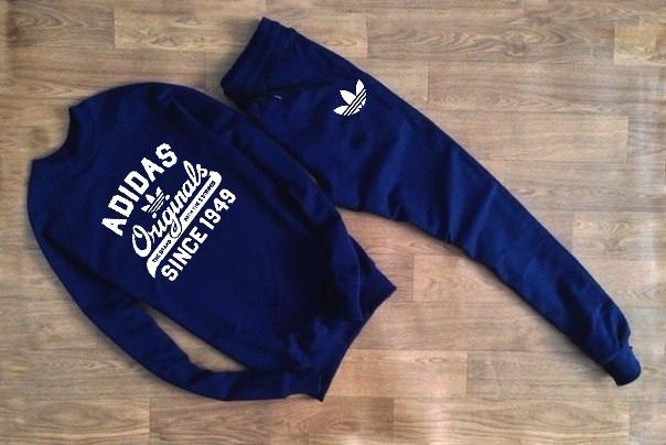 Чоловічий Спортивний костюм принт Adidas Originals т. синій