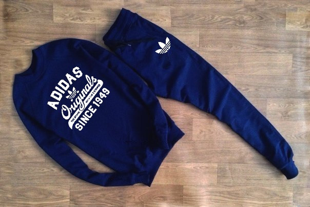 Мужской Спортивный костюм принт Adidas Originals т.синий