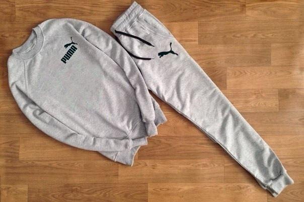 Мужской Спортивный костюм Puma серый с черным принтом