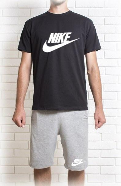 Мужской летний комплект Nike с белым принтом (шорты + футболка)
