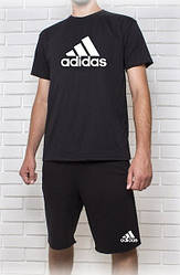 """Мужской летний комплект """"Adidas"""" черный с принтом (шорты + футболка)"""