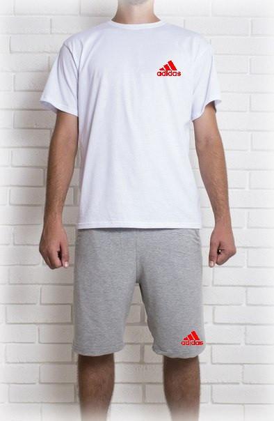 Мужской летний комплект Адидас с принтом (шорты + футболка)