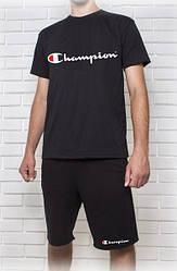 Мужской летний комплект Champion черный (шорты + футболка)
