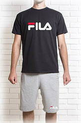 Мужской летний комплект FILA с принтом (шорты + футболка)