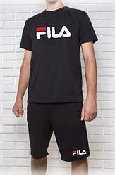 Мужской летний комплект FILA черный (шорты + футболка)