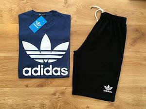 Мужской летний комплект Adidas (шорты + футболка) с большим принтом