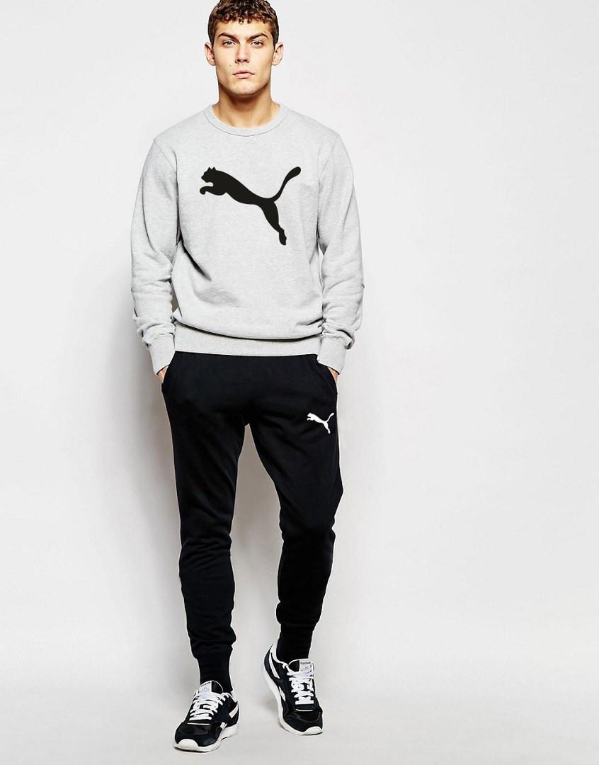 Мужской Спортивный костюм Puma серо-чёрный