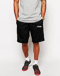 Мужские шорты FILA черные с принтом