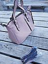 Кожаная женская сумка размером 27х21х12 см Розовая, фото 2