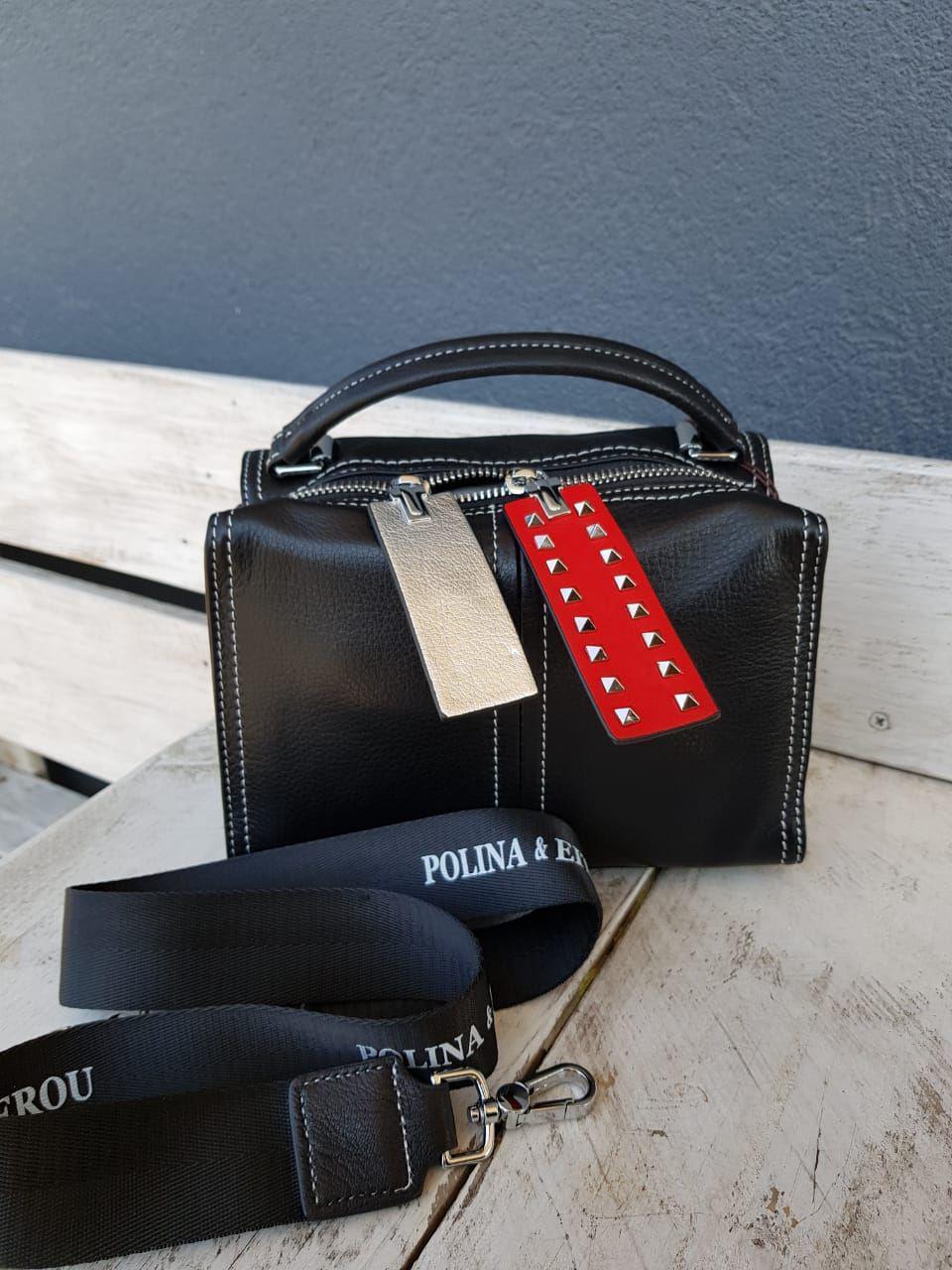 Кожаная женская сумка размером 22х14х15 см Черная