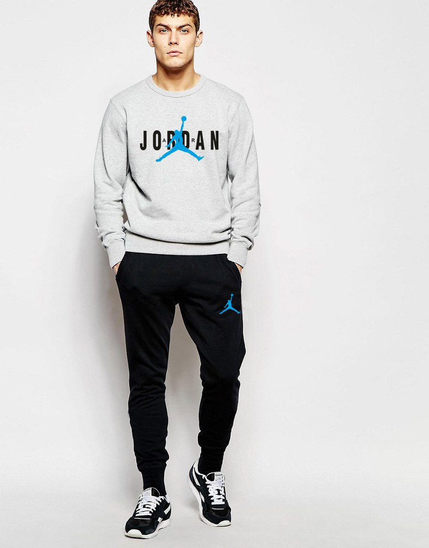 Чоловічий Спортивний костюм AIR Jordan сіро чорний