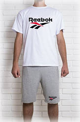 Мужской летний комплект с принтом Reebok (шорты + футболка)
