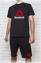 Мужской летний комплект Reebok черный с большим принтом (шорты + футболка)