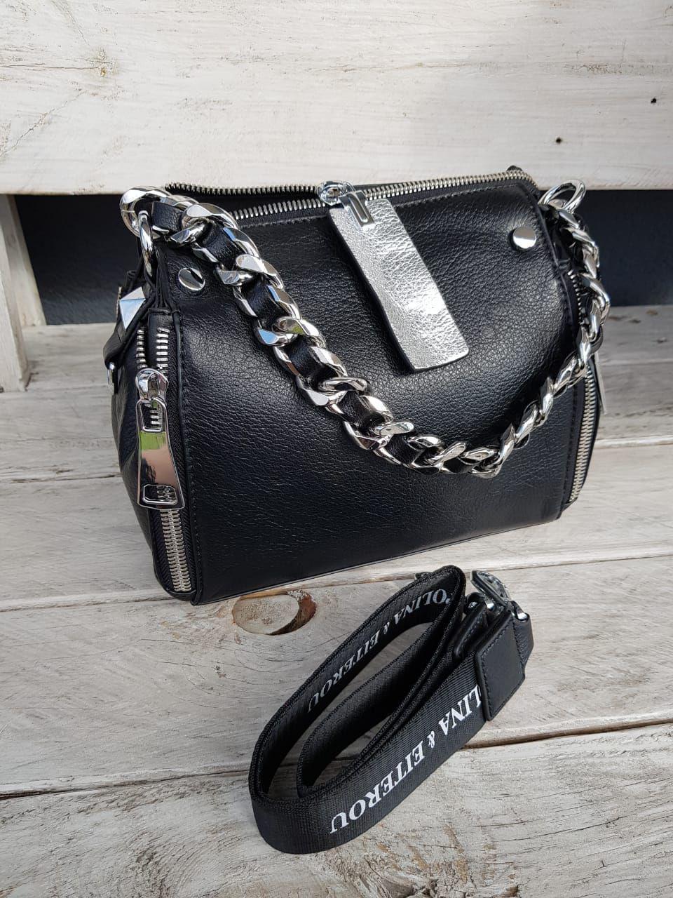 Кожаная женская сумка размером 19х24 см Черная