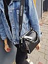 Кожаная женская сумка размером 19х24 см Черная, фото 6