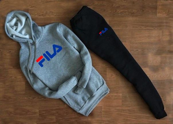 Чоловічий Спортивний костюм FILA c капюшоном сірий з чорними штанами