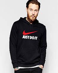 Худи Nike Just Do It | Мужская толстовка | Кенгурушка чёрная