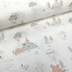 Хлопковая ткань польская холмы с грибочками и тучами разноцветные на белом