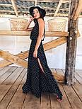 Длинное платье в горошек с разрезом на ноге и без рукава vN7971, фото 2