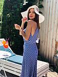 Длинное платье в горошек с разрезом на ноге и без рукава vN7971, фото 4
