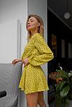 Летнее желтое платье в горошек с расклешенной юбкой и длинным рукавом vN7972, фото 2