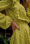 Летнее желтое платье в горошек с расклешенной юбкой и длинным рукавом vN7972, фото 4