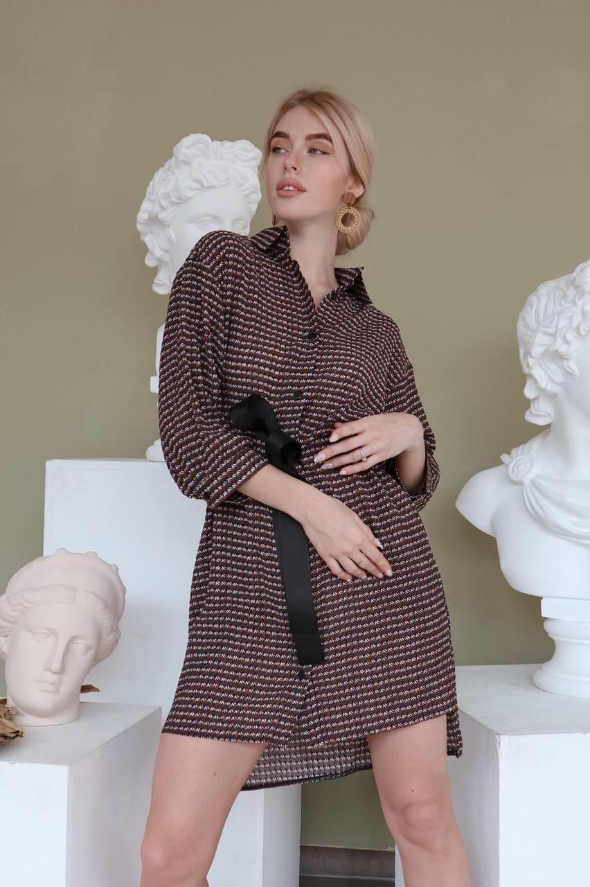 Платье - рубашка с поясом на талии и рукавом фонариком 3/4 vN7974