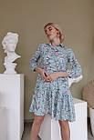 Принтованное платье из штапеля расклешенное с асимметричной оборкой по низу vN7975, фото 2