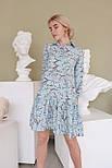 Принтованное платье из штапеля расклешенное с асимметричной оборкой по низу vN7975, фото 3
