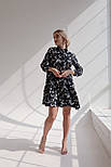 Принтованное платье из штапеля расклешенное с асимметричной оборкой по низу vN7975, фото 4