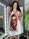 Летнее платье - майка трапецией с принтом на груди vN7977, фото 5
